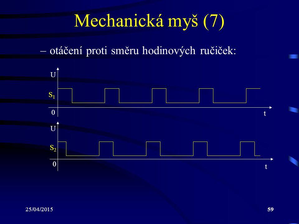 Mechanická myš (7) otáčení proti směru hodinových ručiček: U S1 t U S2