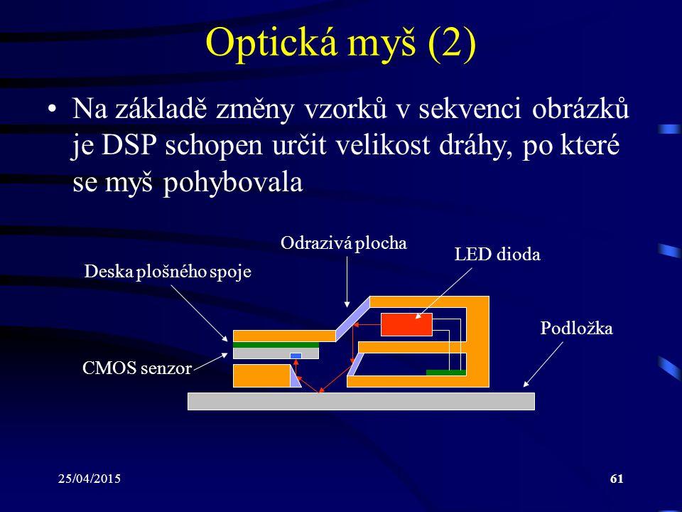 Optická myš (2) Na základě změny vzorků v sekvenci obrázků je DSP schopen určit velikost dráhy, po které se myš pohybovala.