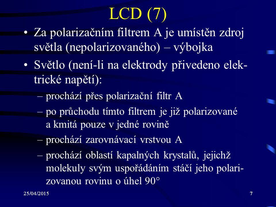 LCD (7) Za polarizačním filtrem A je umístěn zdroj světla (nepolarizovaného) – výbojka. Světlo (není-li na elektrody přivedeno elek-trické napětí):