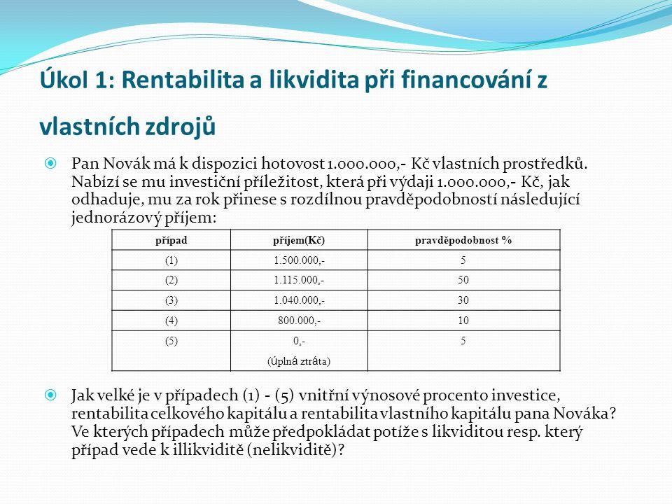 Úkol 1: Rentabilita a likvidita při financování z vlastních zdrojů