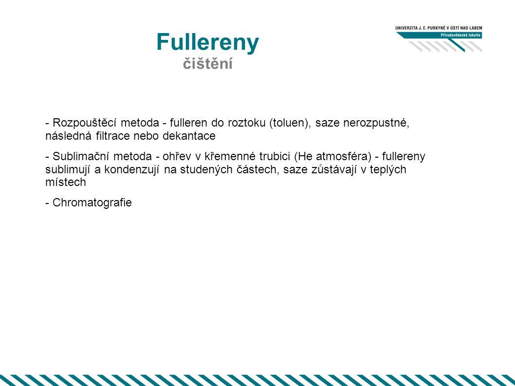 Fullereny čištění. - Rozpouštěcí metoda - fulleren do roztoku (toluen), saze nerozpustné, následná filtrace nebo dekantace.