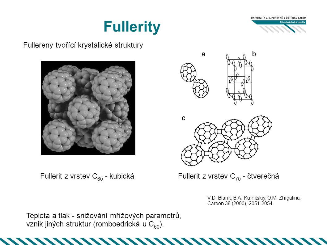 Fullerity Fullereny tvořící krystalické struktury