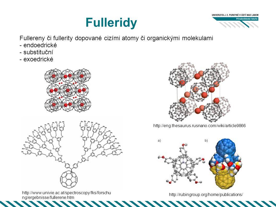 Fulleridy Fullereny či fullerity dopované cizími atomy či organickými molekulami. - endoedrické. - substituční.