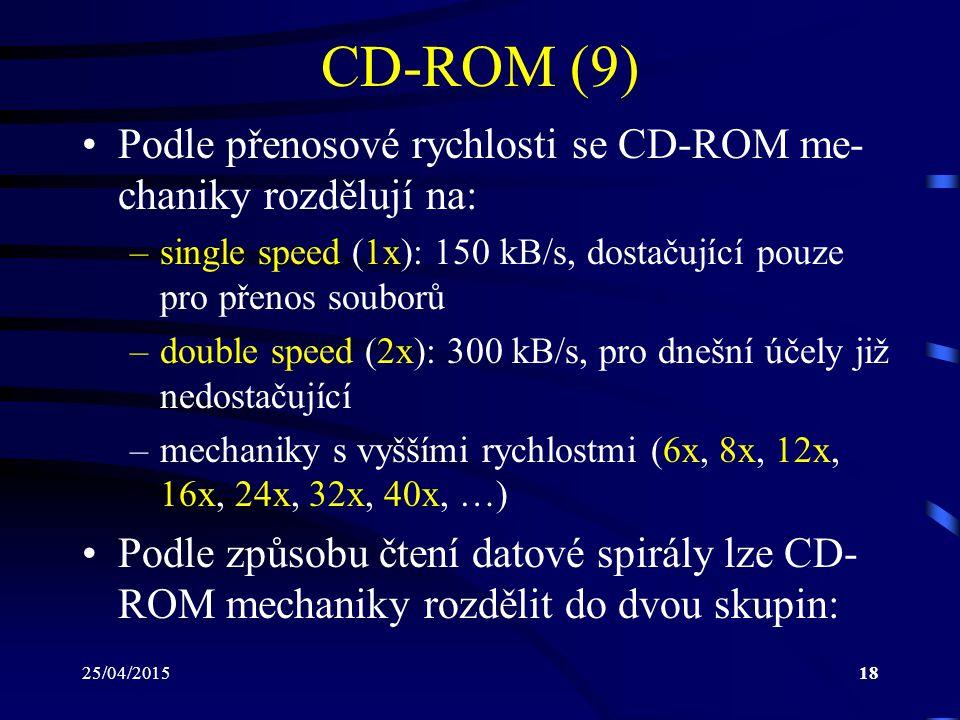 CD-ROM (9) Podle přenosové rychlosti se CD-ROM me-chaniky rozdělují na: single speed (1x): 150 kB/s, dostačující pouze pro přenos souborů.