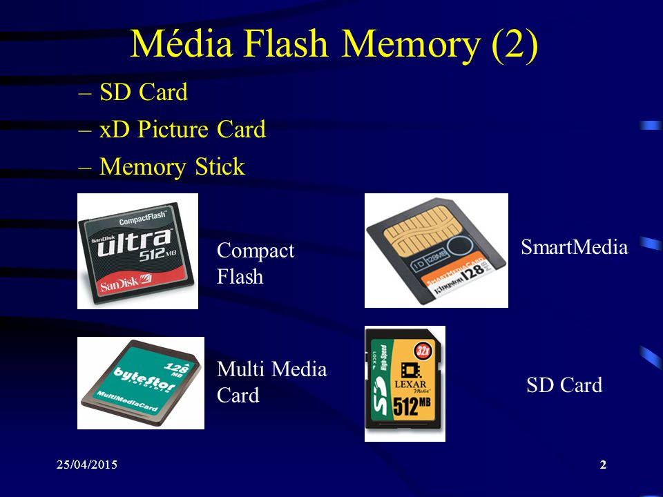 Média Flash Memory (2) SD Card xD Picture Card Memory Stick SmartMedia