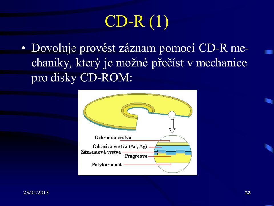 CD-R (1) Dovoluje provést záznam pomocí CD-R me-chaniky, který je možné přečíst v mechanice pro disky CD-ROM: