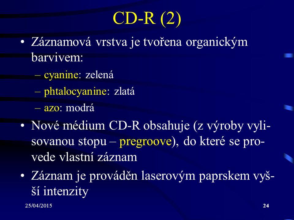 CD-R (2) Záznamová vrstva je tvořena organickým barvivem: