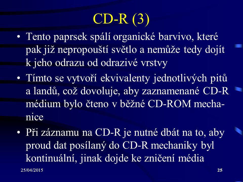 CD-R (3) Tento paprsek spálí organické barvivo, které pak již nepropouští světlo a nemůže tedy dojít k jeho odrazu od odrazivé vrstvy.
