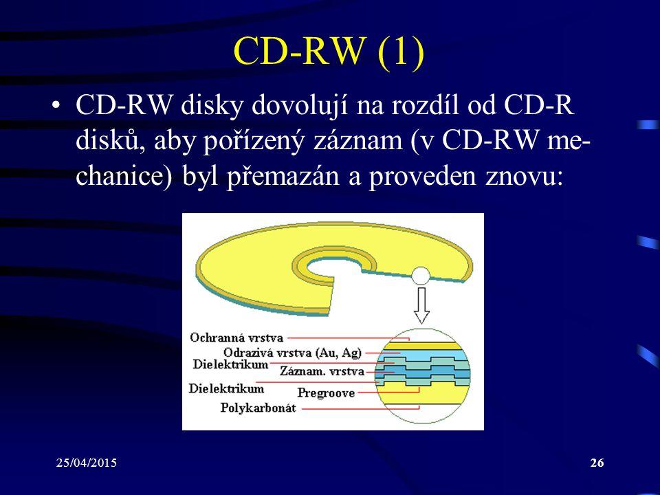 CD-RW (1) CD-RW disky dovolují na rozdíl od CD-R disků, aby pořízený záznam (v CD-RW me-chanice) byl přemazán a proveden znovu: