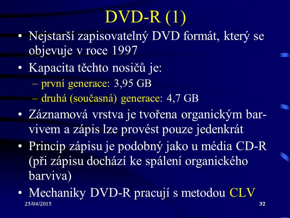 DVD-R (1) Nejstarší zapisovatelný DVD formát, který se objevuje v roce 1997. Kapacita těchto nosičů je: