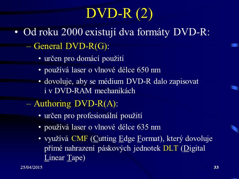 DVD-R (2) Od roku 2000 existují dva formáty DVD-R: General DVD-R(G):