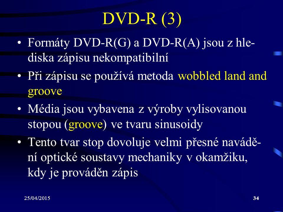 DVD-R (3) Formáty DVD-R(G) a DVD-R(A) jsou z hle-diska zápisu nekompatibilní. Při zápisu se používá metoda wobbled land and groove.