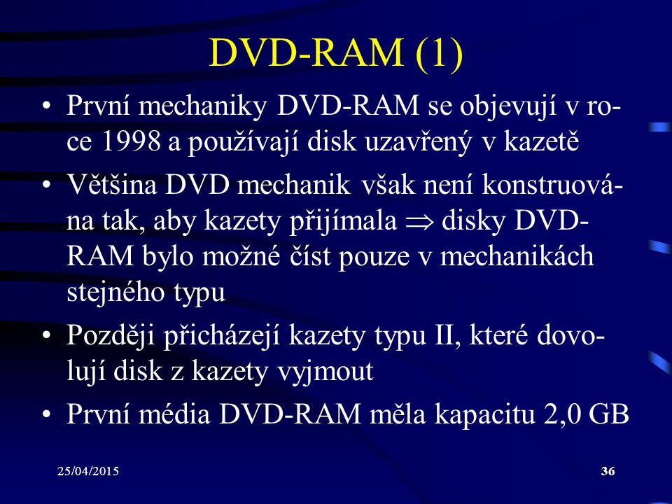 DVD-RAM (1) První mechaniky DVD-RAM se objevují v ro-ce 1998 a používají disk uzavřený v kazetě.