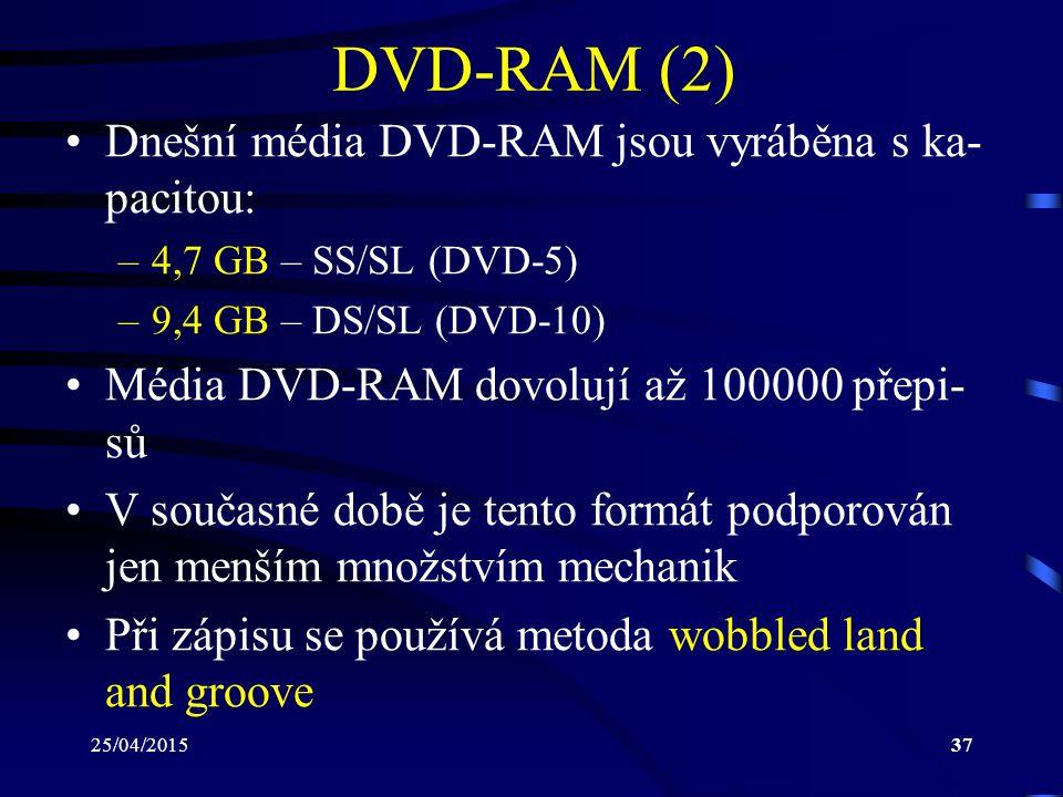 DVD-RAM (2) Dnešní média DVD-RAM jsou vyráběna s ka-pacitou: