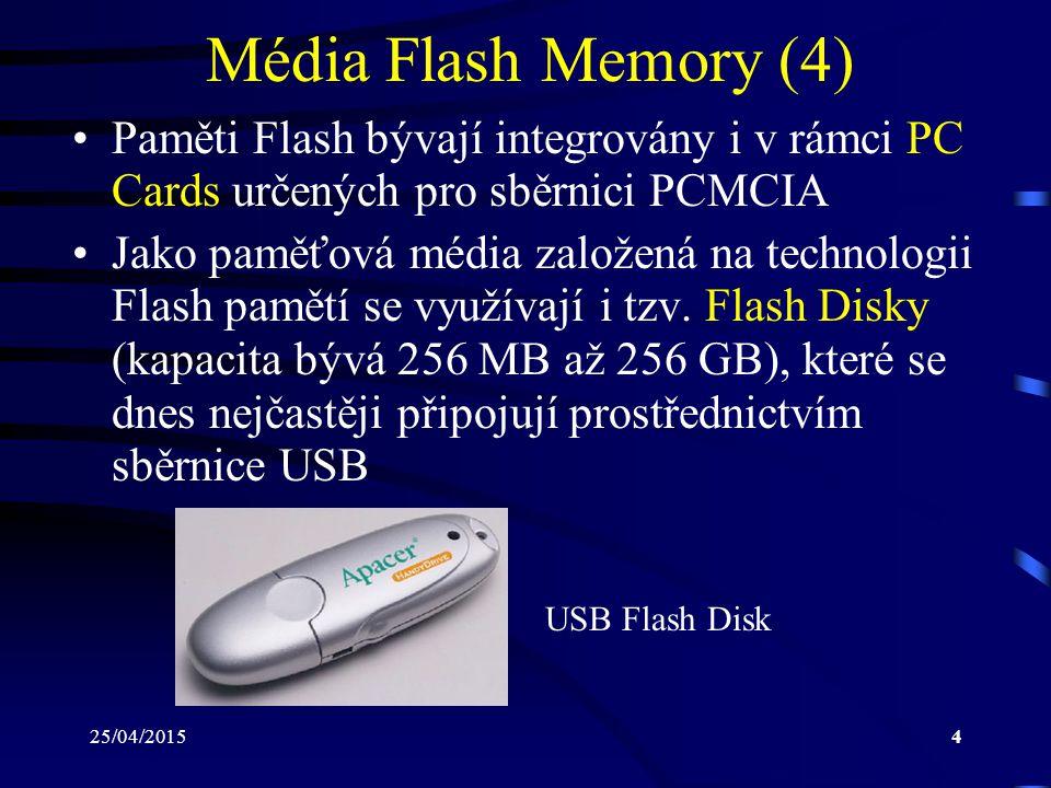 Média Flash Memory (4) Paměti Flash bývají integrovány i v rámci PC Cards určených pro sběrnici PCMCIA.
