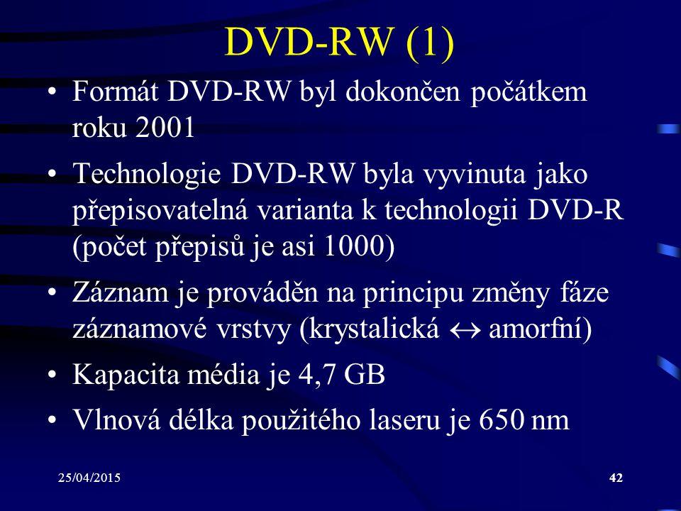 DVD-RW (1) Formát DVD-RW byl dokončen počátkem roku 2001