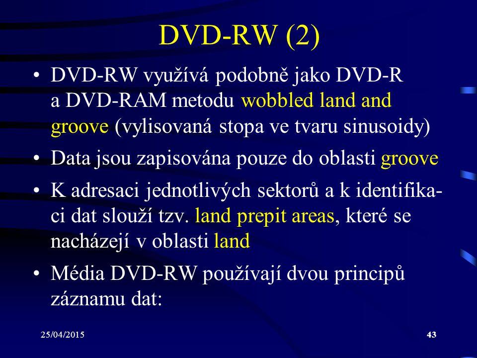 DVD-RW (2) DVD-RW využívá podobně jako DVD-R a DVD-RAM metodu wobbled land and groove (vylisovaná stopa ve tvaru sinusoidy)