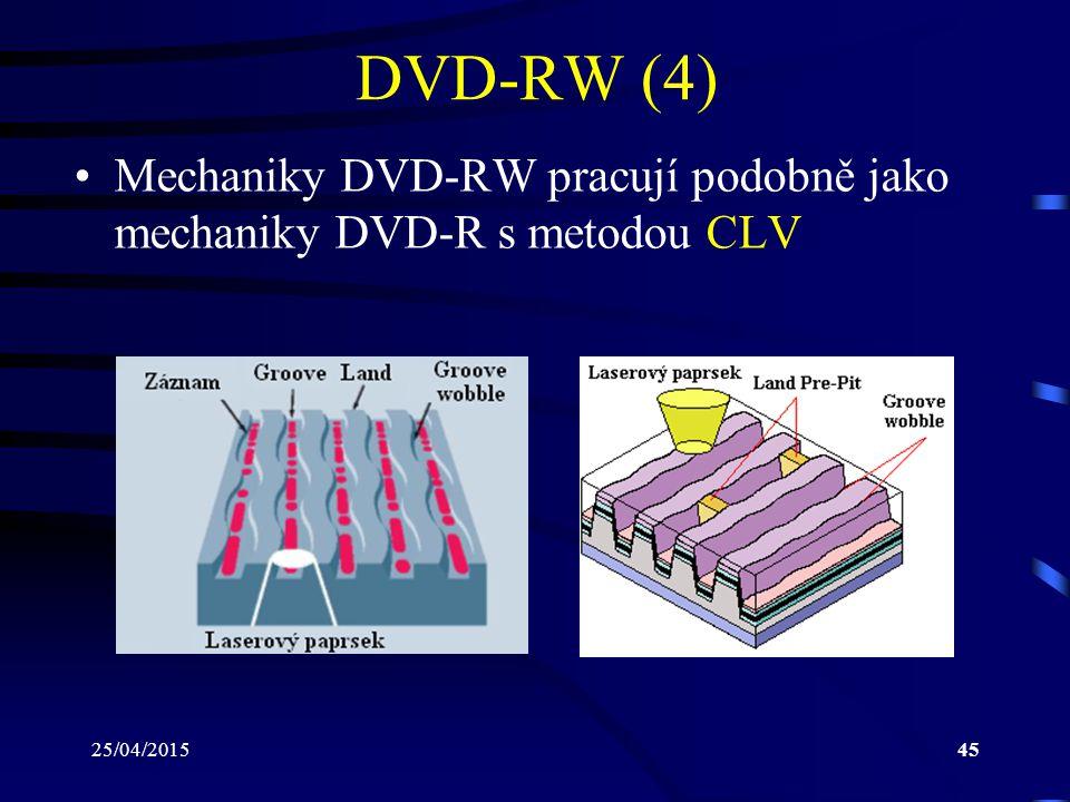 DVD-RW (4) Mechaniky DVD-RW pracují podobně jako mechaniky DVD-R s metodou CLV 14/04/2017