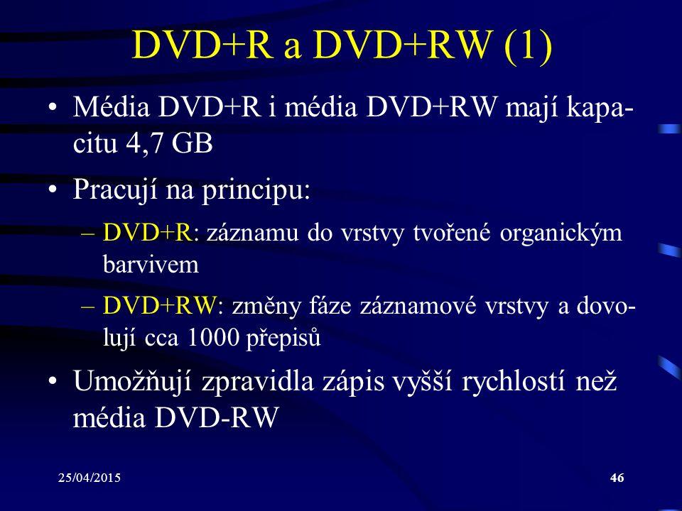 DVD+R a DVD+RW (1) Média DVD+R i média DVD+RW mají kapa- citu 4,7 GB