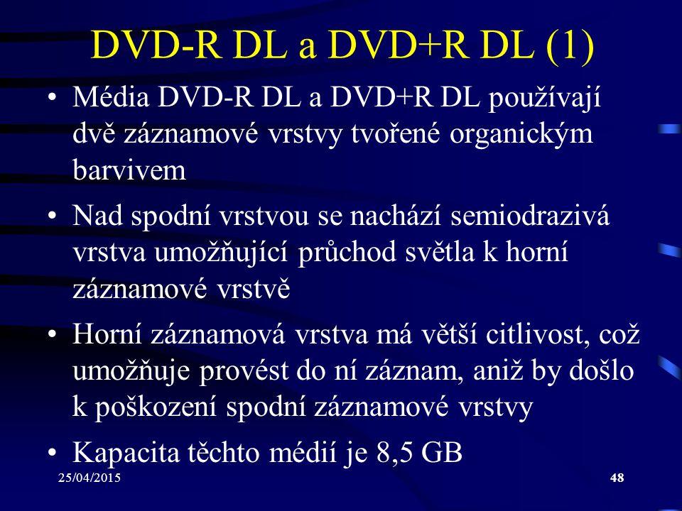 DVD-R DL a DVD+R DL (1) Média DVD-R DL a DVD+R DL používají dvě záznamové vrstvy tvořené organickým barvivem.