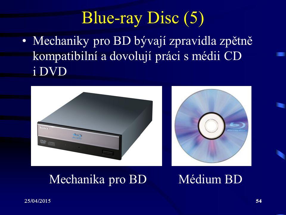 Blue-ray Disc (5) Mechaniky pro BD bývají zpravidla zpětně kompatibilní a dovolují práci s médii CD i DVD.