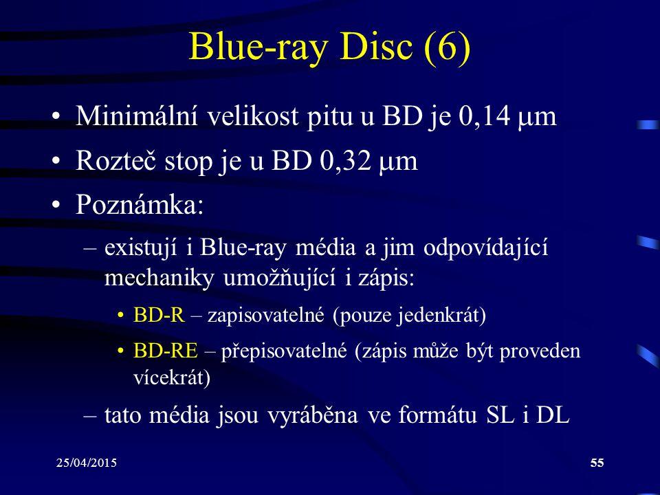 Blue-ray Disc (6) Minimální velikost pitu u BD je 0,14 m