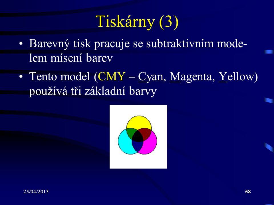 Tiskárny (3) Barevný tisk pracuje se subtraktivním mode- lem mísení barev. Tento model (CMY – Cyan, Magenta, Yellow) používá tři základní barvy.