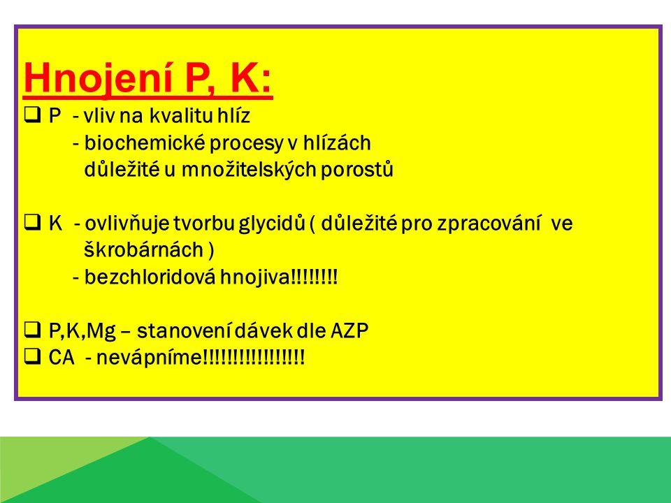 Hnojení P, K: P - vliv na kvalitu hlíz - biochemické procesy v hlízách