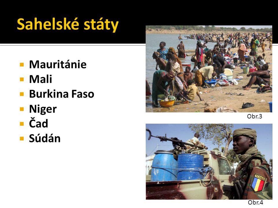 Sahelské státy Mauritánie Mali Burkina Faso Niger Čad Súdán Obr.3