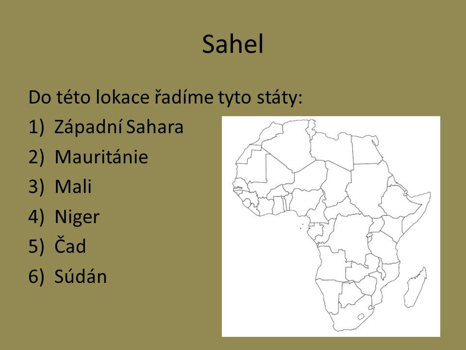 Sahel Do této lokace řadíme tyto státy: Západní Sahara Mauritánie Mali