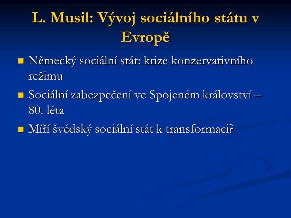 L. Musil: Vývoj sociálního státu v Evropě