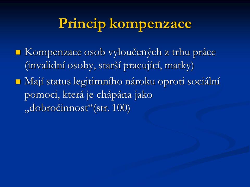 Princip kompenzace Kompenzace osob vyloučených z trhu práce (invalidní osoby, starší pracující, matky)