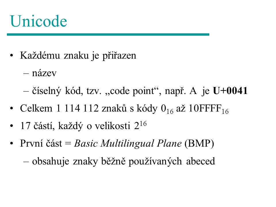 Unicode Každému znaku je přiřazen název