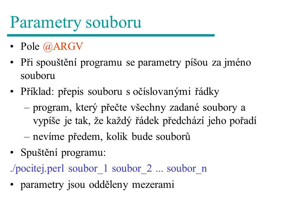 Parametry souboru Pole @ARGV
