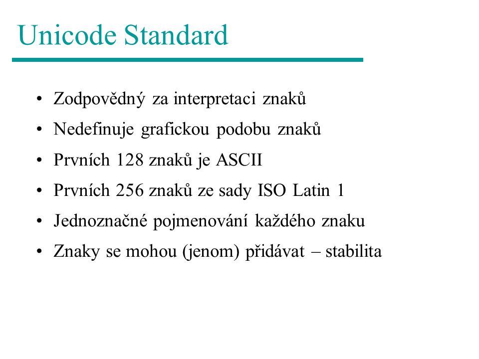 Unicode Standard Zodpovědný za interpretaci znaků
