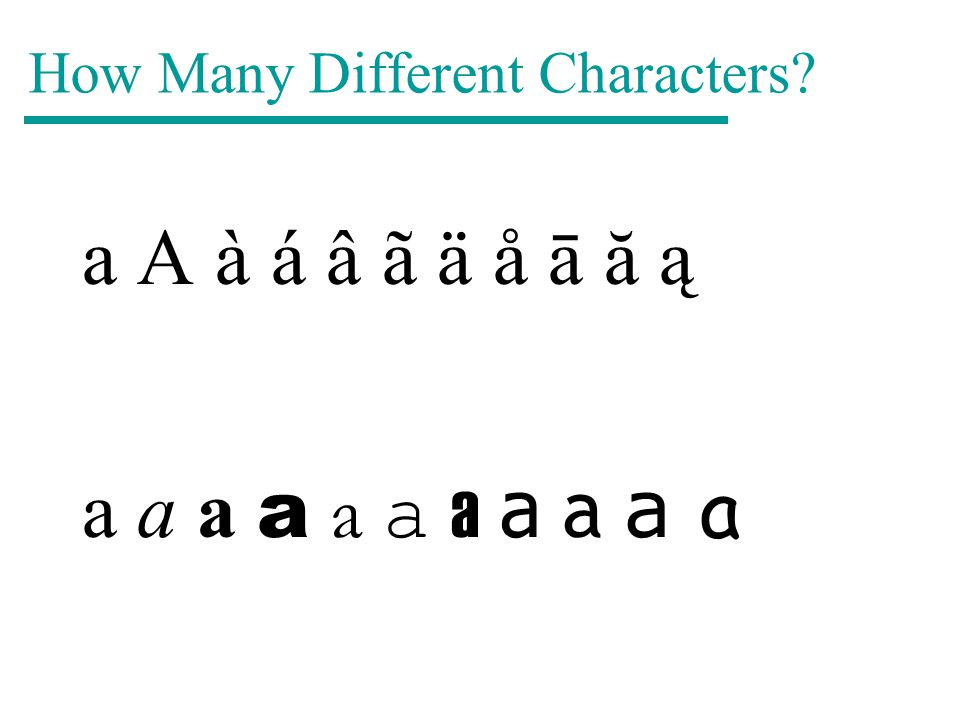 How Many Different Characters