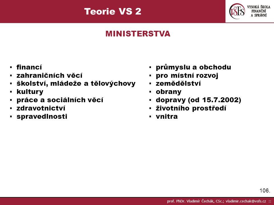 Teorie VS 2 MINISTERSTVA ▪ financí ▪ průmyslu a obchodu