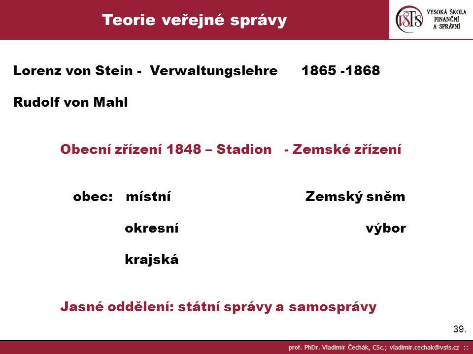 Teorie veřejné správy Lorenz von Stein - Verwaltungslehre 1865 -1868