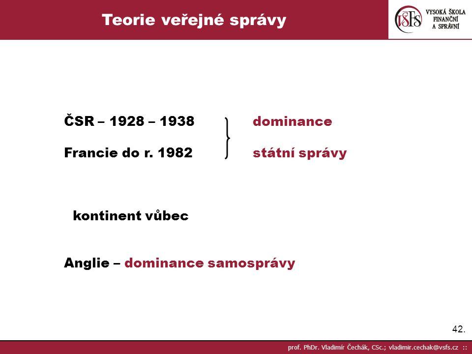 Teorie veřejné správy ČSR – 1928 – 1938 dominance