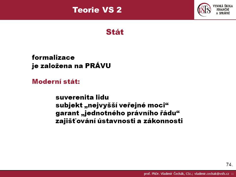 Teorie VS 2 Stát formalizace je založena na PRÁVU Moderní stát: