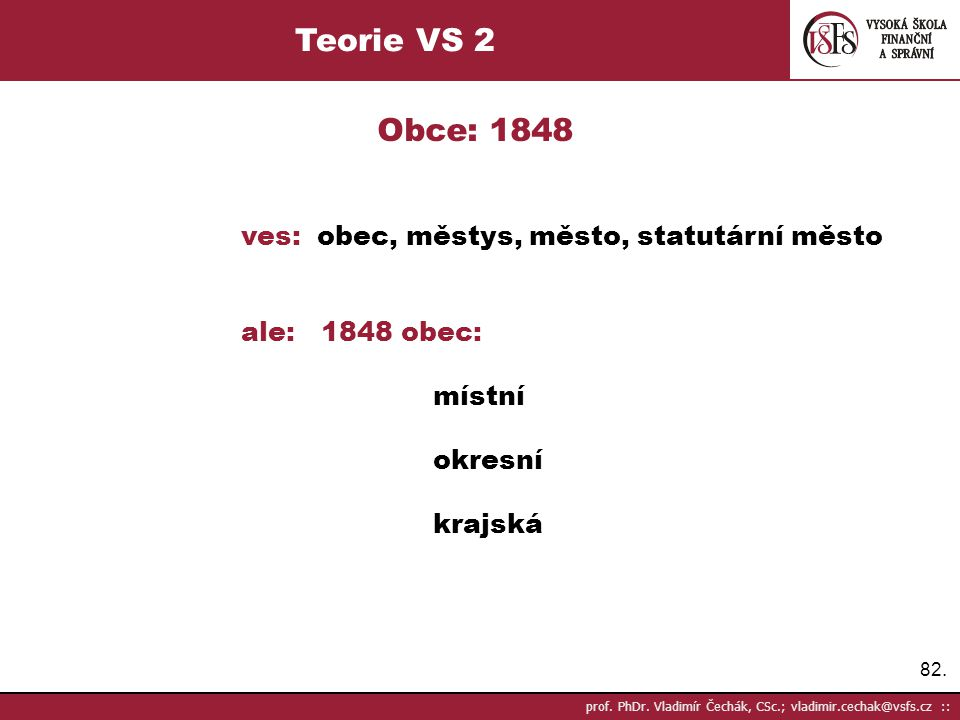 Teorie VS 2 Obce: 1848 ves: obec, městys, město, statutární město