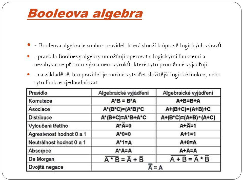 Booleova algebra - Booleova algebra je soubor pravidel, která slouží k úpravě logických výrazů.
