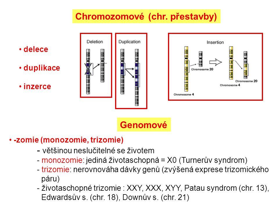 Chromozomové (chr. přestavby)