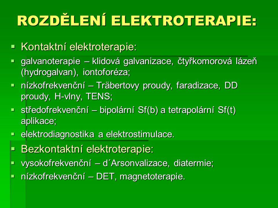 ROZDĚLENÍ ELEKTROTERAPIE: