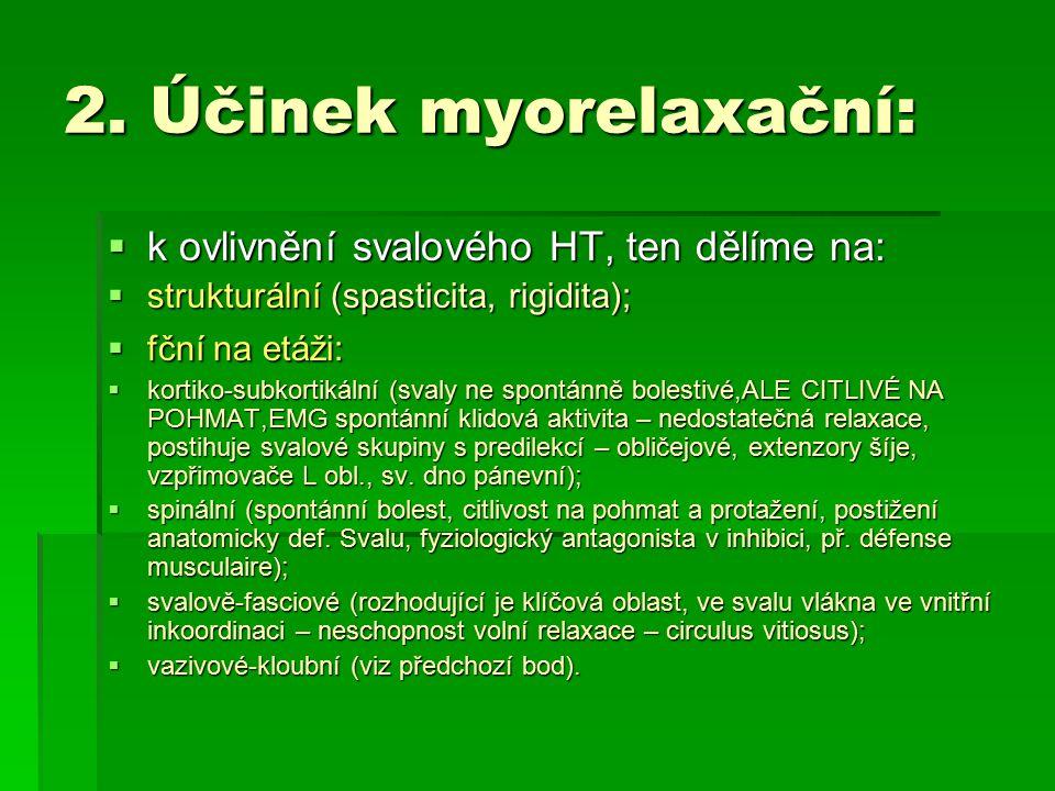 2. Účinek myorelaxační: k ovlivnění svalového HT, ten dělíme na: