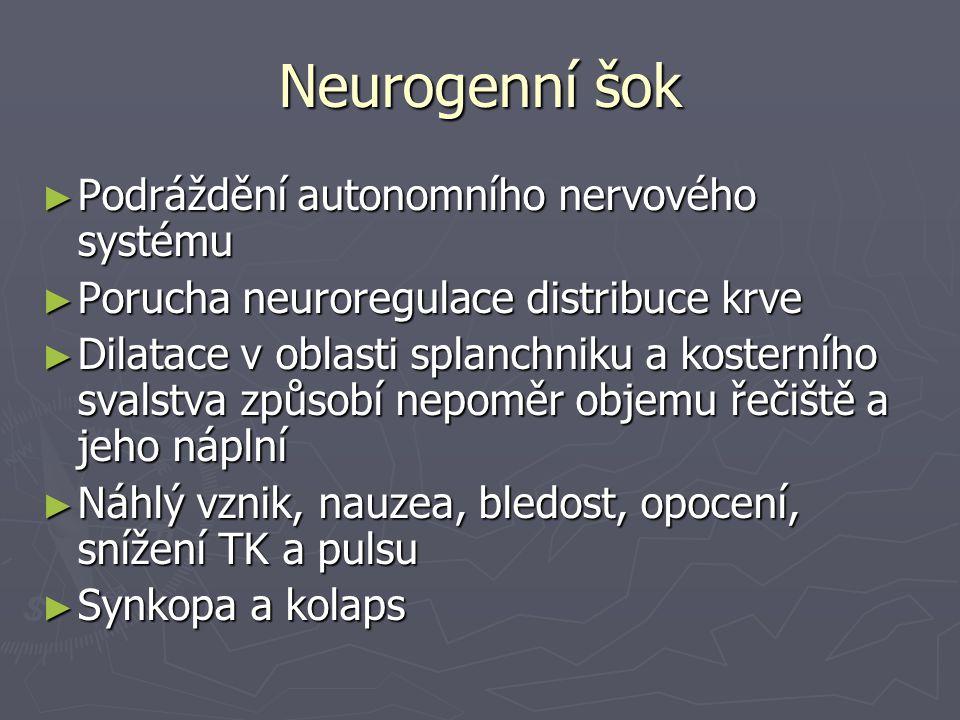 Neurogenní šok Podráždění autonomního nervového systému