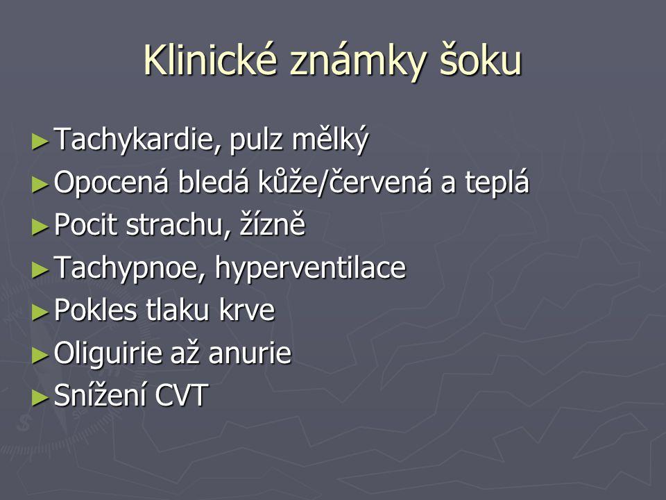 Klinické známky šoku Tachykardie, pulz mělký