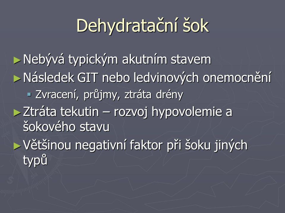 Dehydratační šok Nebývá typickým akutním stavem