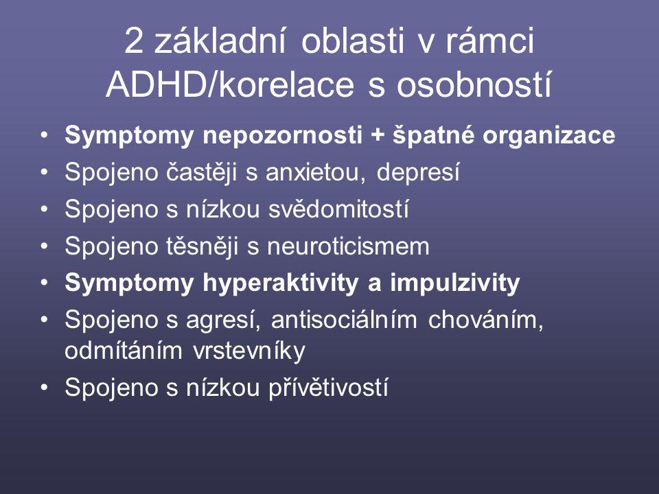 2 základní oblasti v rámci ADHD/korelace s osobností