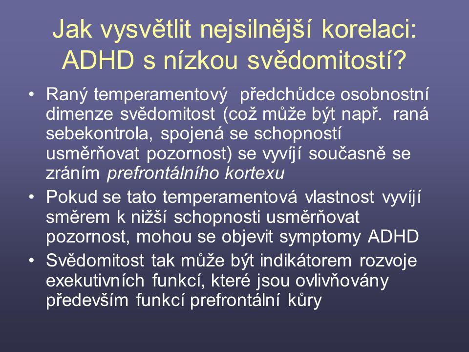 Jak vysvětlit nejsilnější korelaci: ADHD s nízkou svědomitostí
